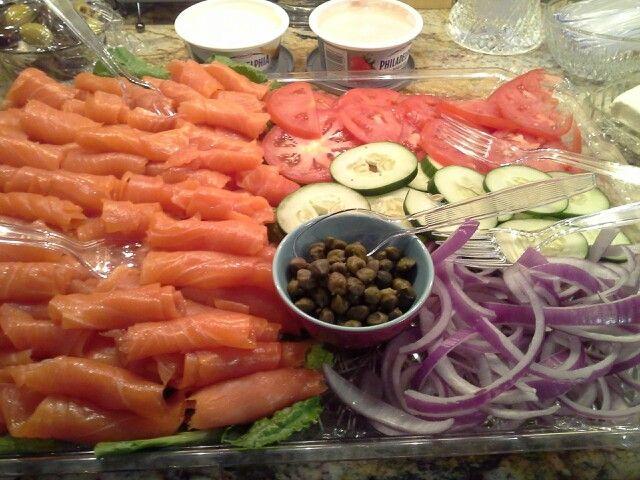 Lox platter at a break the fast, Yom Kippur dinner