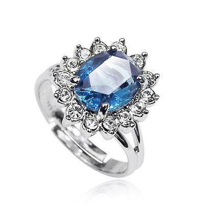 Sapphire With Austrian Crysta Stellux Cubic Zirconia Ring