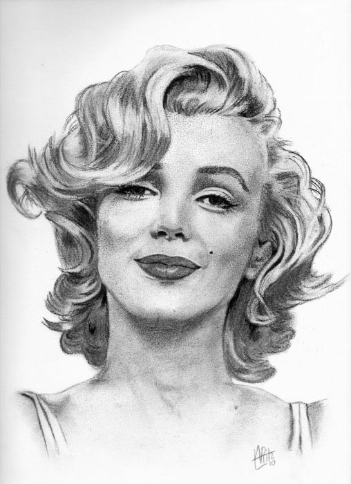 ARitz - Dessinatrice au Fusain, Pastel sec, Pierre noire et Crayon Gomme - Marilyn Monroe