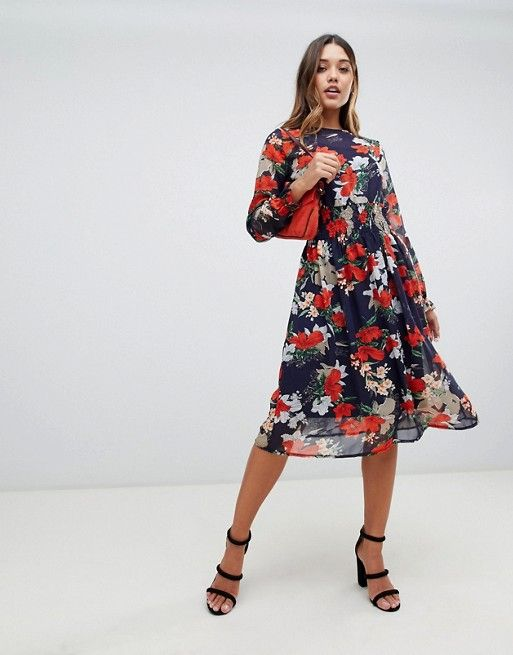 ff9ef658a918 Boohoo exclusive high neck midi dress in floral | church | Dresses ...