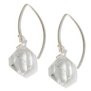 Deb Guyot Designs Herkimer Quartz Freeform Drop Sterling Silver Earrings at HSN.com.