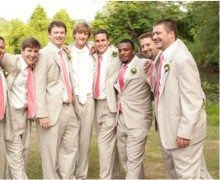 Classic Southern Mens Attire Dapper Groomsmen Hot Pink Ties Beige Suits And White Sha Shabby Chic Spring Rustic