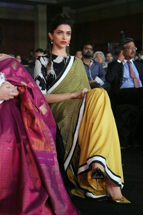 Deepika Padukone In A Beautiful Black, Olive & Yellow #Saree or sari and blouse