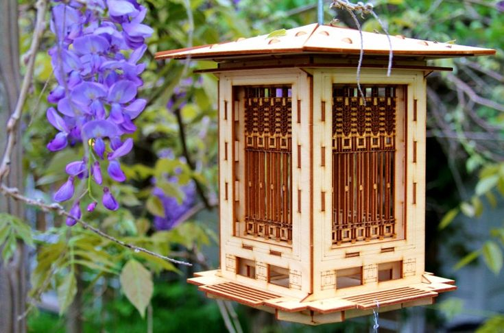 Bird Feeder Craftsman Prairie Style. Wooden 3D puzzle kit. DIY model you snap together! Mason Jar with Bird seed makes it complete.