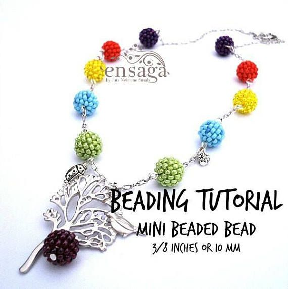 Beaded Bead Tutorial Mini Beaded Bead Pattern PDF file