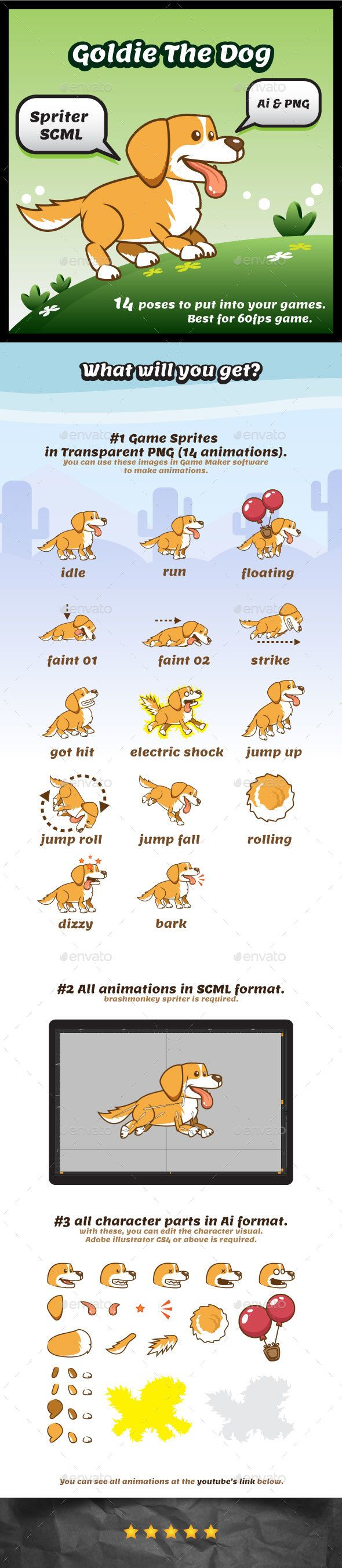 Goldie the Dog Game Character Sprites