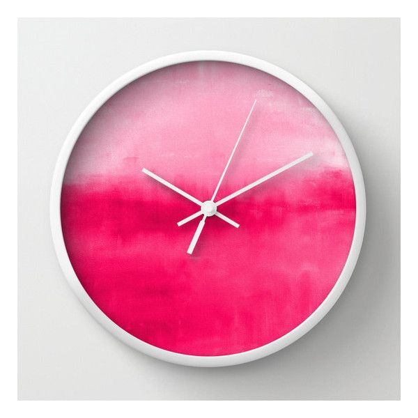 "Hot Pink Wall Clock Ombre 10"" Clock Abstract Art Modern Home Decor... ($39) ❤ liked on Polyvore featuring home, home decor, wall art, black and white wall art, black and white home accessories, hot pink home decor, black and white home decor and black white wall art"