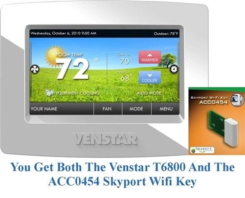 VENSTAR T6800 COMMERCIAL COLOR THERMOSTAT WITH ACC0454 SKYPORT WIFI KEY