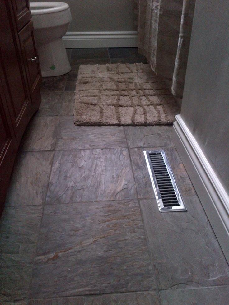 Bathroom Floor Tile Baseboard : Slate tile bathroom flooring new vanity and white