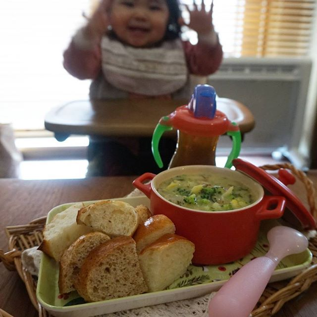 kashiwakaToday's lunch for my daughter, Feb. 29 2016 今日の娘のお昼ごはん(1歳1ヶ月) *豆乳カレースープ *パン屋さんのプチパン 娘は完食しました。 * スープは、朝のスープに豆乳とブロッコリーとカレー粉を入れてリメイクしました。 * #lunch #babylunch #babymeal #kidslunch #kidsmeal #13months #1yearold #おうちごはん #お家ごはん #お昼ごはん #ランチ #こどもごはん #離乳食 #離乳食完了期 #たぶん離乳食 #ほぼ幼児食 #幼児食 #13ヶ月 #生後13ヶ月 #1歳 #1歳1ヶ月 #待ちきれない人 #はしゃぐ人