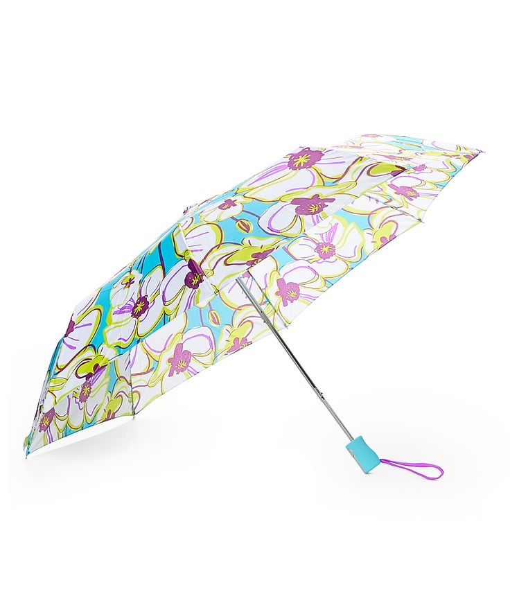 White Floral Compact Umbrella
