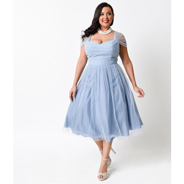 Unique Vintage Plus Size Slate Blue & White Swiss Dot Garden State... ($138) ❤ liked on Polyvore featuring dresses, light blue, light blue bridesmaid dresses, plus size retro dresses, vintage polka dot dress, light blue cocktail dress and vintage dresses