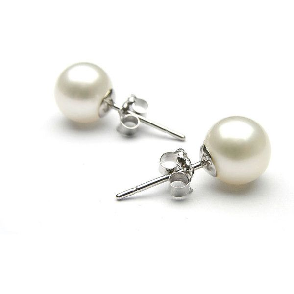 Pearl Studs in 18K White Gold8mm found on Polyvore featuring jewelry, earrings, jewelry & watches, white pearl studs, multi colored pearl earrings, colorful earrings, butterfly jewelry, white earrings and multi color stud earrings