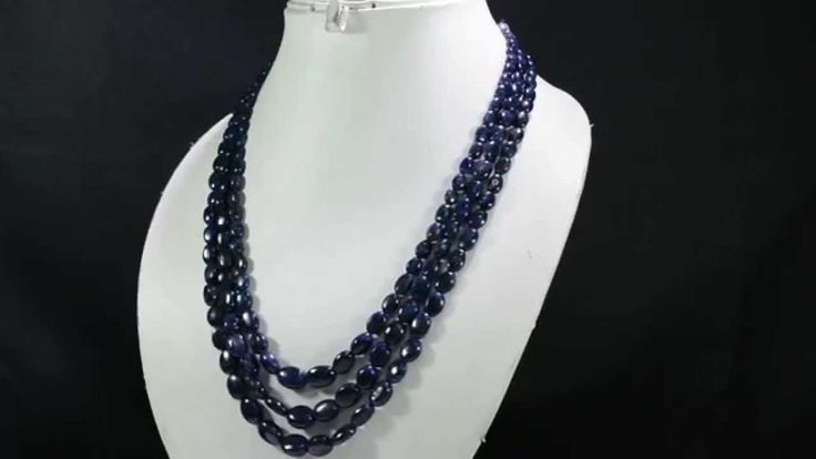 3 Strands Natural Sapphire 408ct Oval Cabochon Beads Gemstone Strings Ne...