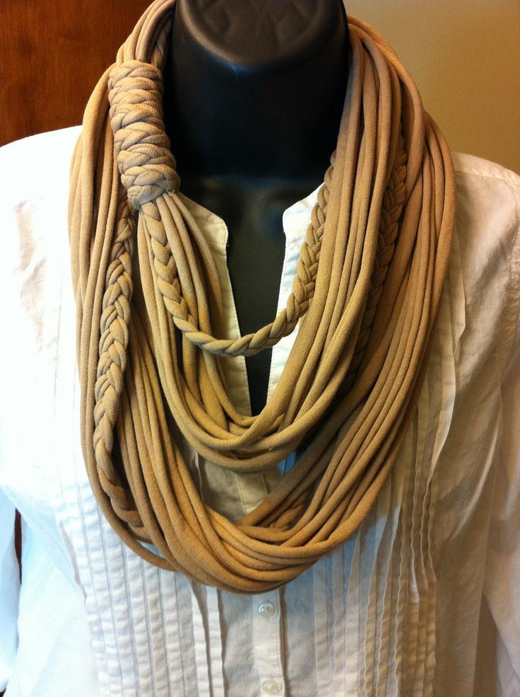 Tshirt Scarf- Infinity Scarf - Multi-Stranded Scarf- Fabric Necklace. $25.00, via Etsy.