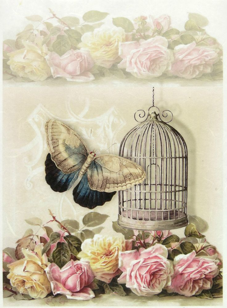 Ricepaper/Decoupage paper,Scrapbooking Sheets Vintage Cage, Rose Butterfly in Crafts, Cardmaking & Scrapbooking, Decoupage | eBay