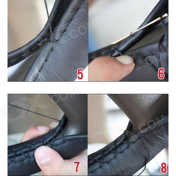 DIY coser a mano de piel protectora coche volante cubierta - Beige