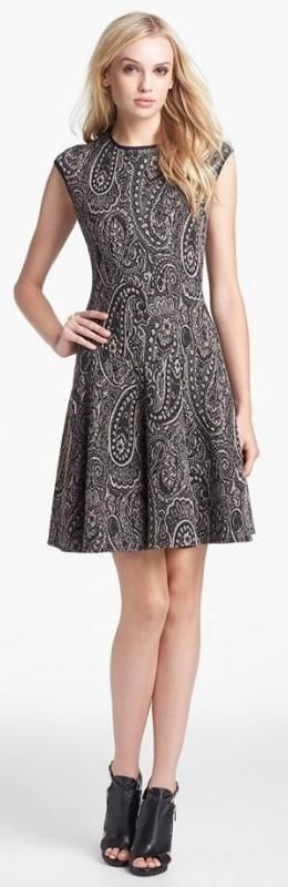 Cute paisley fit & flare sweater dress (under $100)!