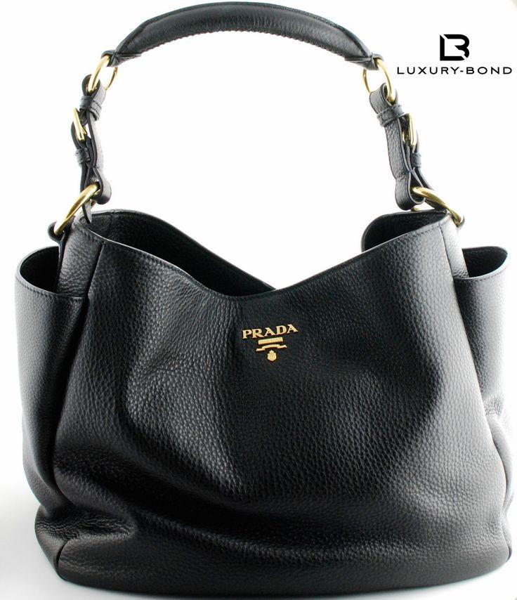 Prada BR4863 Vitello Daino Shopping Tote Hobo Bag Nero Black ...