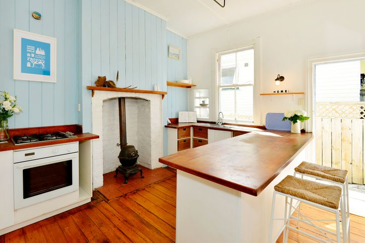 #brightandbreezy. A coat of @Resene Decorating #escape totally transformed this kitchen. Styling by PlacesandGraces.