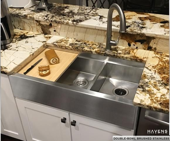 Superbe Stainless Steel Custom Farmhouse Double Bowl Sink With A Built In Ledge And Cutting  Board.