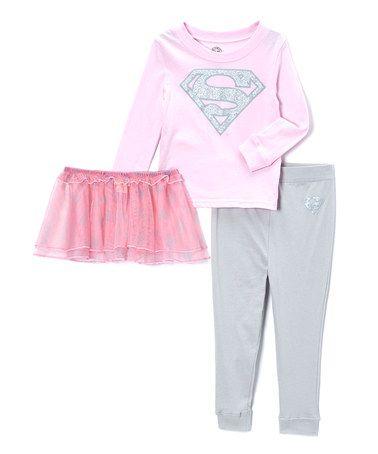 #zulily Light Pink Supergirl Pajama Set - Toddler #zulilyfinds $15 http://www.zulily.com/invite/syen080