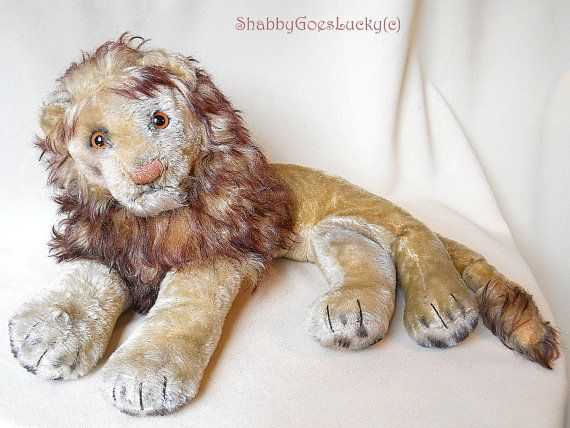 Steiff lying lion Leo 1955  1964 produced midi by ShabbyGoesLucky