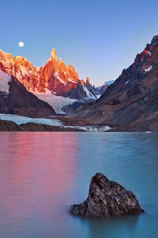 Cerro Torre with Full Moon at Sunrise (by Joerg Bonner)