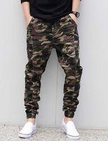Moda Erkek Joggers Askeri Ordu Yeşil Kamuflaj Marka Pantolon Gevşek Açık Pantolon Elastik Bel Harem Erkek Kot Hip Hop