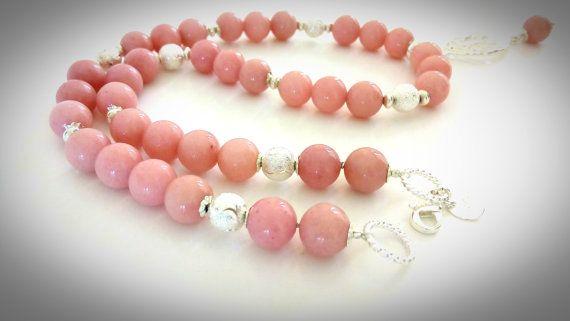 Jade necklace Mountain delicate pink jade Sterling от GECHELINE