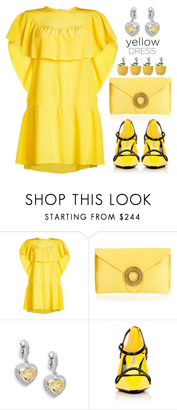 """In La La Land: Yellow Dresses"" by shoaleh-nia ❤ liked on Polyvore featuring RED Valentino, Wilbur & Gussie, Judith Ripka, Fabrizio Viti and Dot & Bo"
