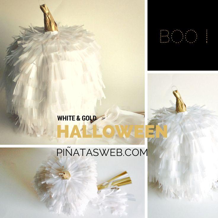 Piñata Halloween! Más ideas... cambia los colores, White&Gold Pumpkin in Halloween!  https://www.facebook.com/ppinatas/photos/a.1391321507793915.1073741828.1391311921128207/1506262146299850/?type=1&theater