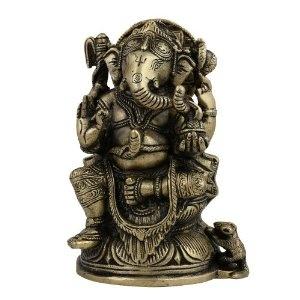 Figurine de Ganesh en laiton avec divers symboles hindous: Amazon.fr: Cuisine & Maison