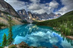 Mountains, clouds, forest, sky, lake, canada