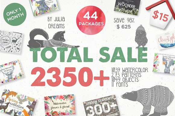 TOTAL SALE • 2350 ELEMENTS • 98%OFF by Julia Dreams on @creativemarket