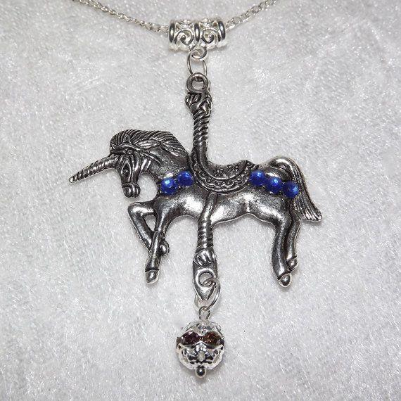 Set  Unicorn Dreams Blue  Necklace & Earrings   by KasumiCrafts