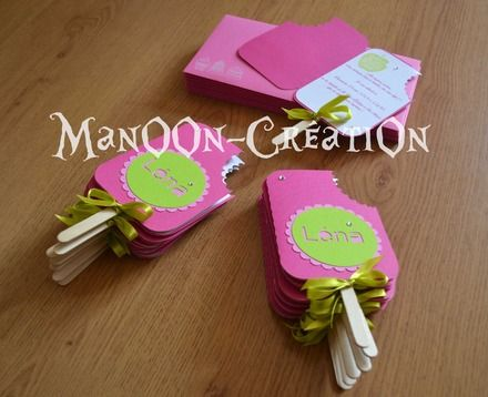 "Faire-part ""Gourmandise"" Fuschia/ Vert anis forme de glace!  : Faire-part par manoon-creation"