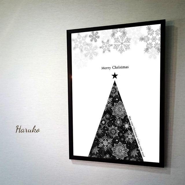 クリスマスポスター  ホワイトver. モノトーンポスター 白黒ポスター デザインポスター モノトーンインテリア | ハンドメイドマーケット minne