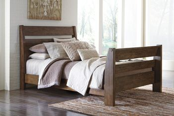 Urban Farmhouse Sleigh Bed, Emerfield, in a two toned rubbed black and distressed reclaimed wood tone. Available in Queen or King