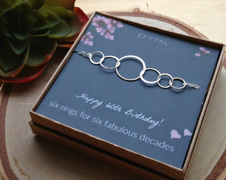 60th birthday gifts for women sterling silver six circle