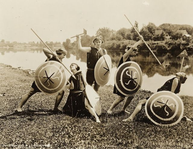 Prominent young girls of Seneca Falls as warriors in honor of the officers and members of the National Woman's party 1923
