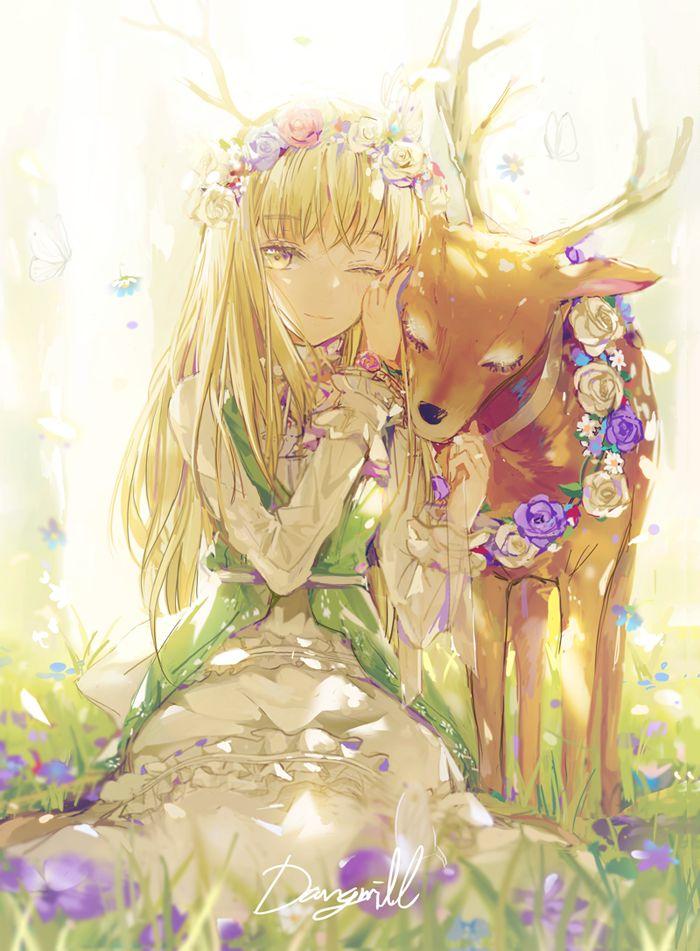 Anime/ Manga Enchanted Forest Deer Flowers Bright Light