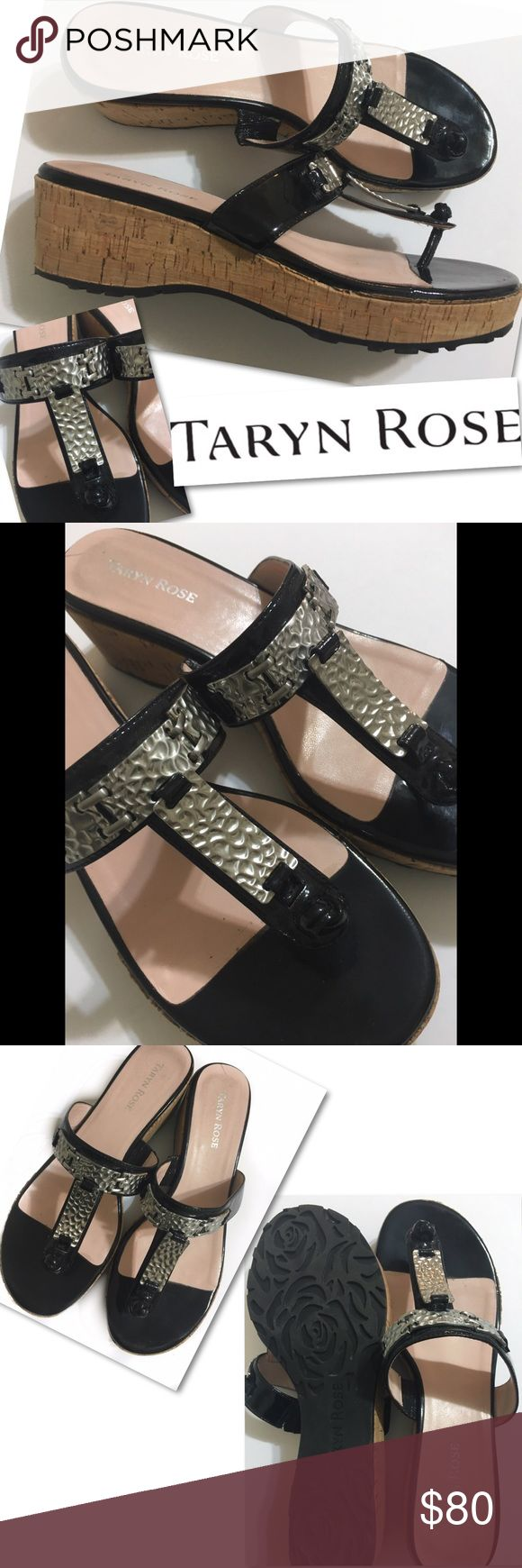 TAYRN ROSE HAMMERED METAL WEDGE SANDALS 8 NEW TAYRN ROSE  HAMMERED METAL SHOES WEDGES SANDALS  SZ 8  only tried on and walked around house basically New Taryn Rose Shoes Sandals
