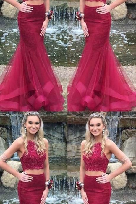 2149350a08d Girls Formal Graduation Burgundy 2 Pieces Lace Prom Dresses Mermaid Style