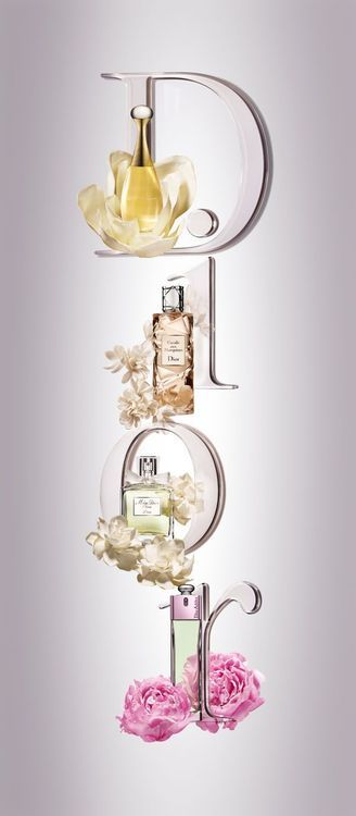 Dior Wall Decor with Perfume Bottles Flowers. This would be cute for a vanity room!