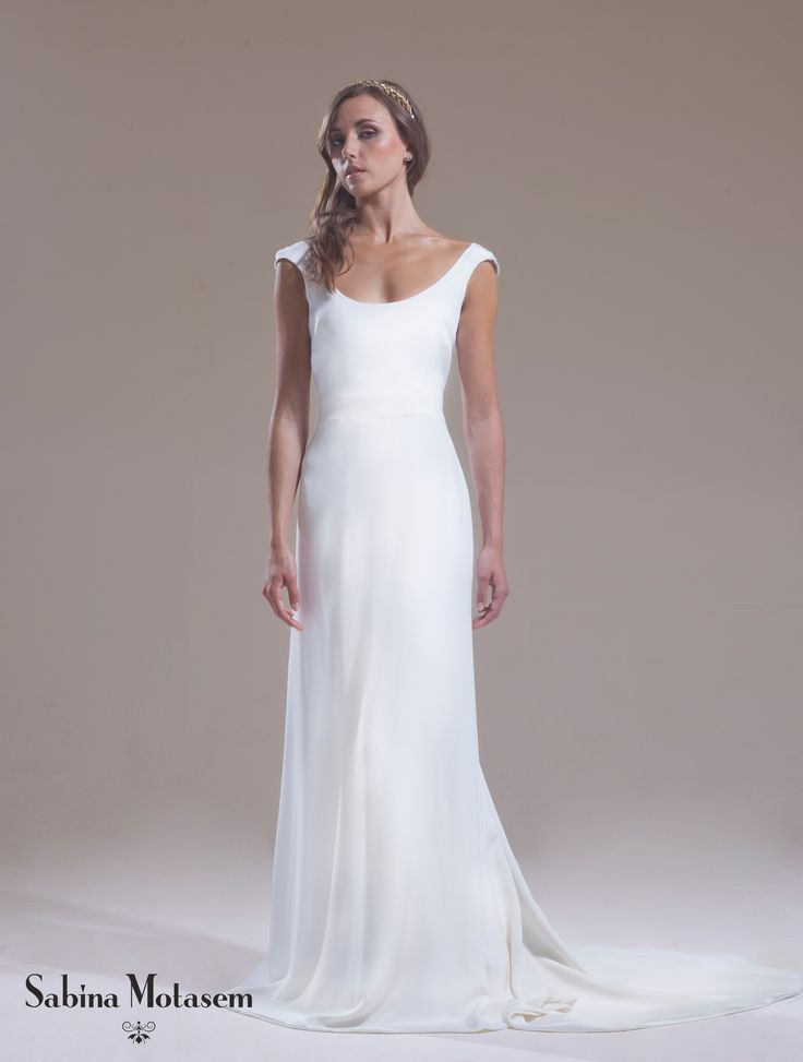 A Scoop Neck Backless Wedding Dress With Cap Sleeves And Scooped Plunging Back Soft Line Skirt Add Detachable Lace Insert Or Hidden