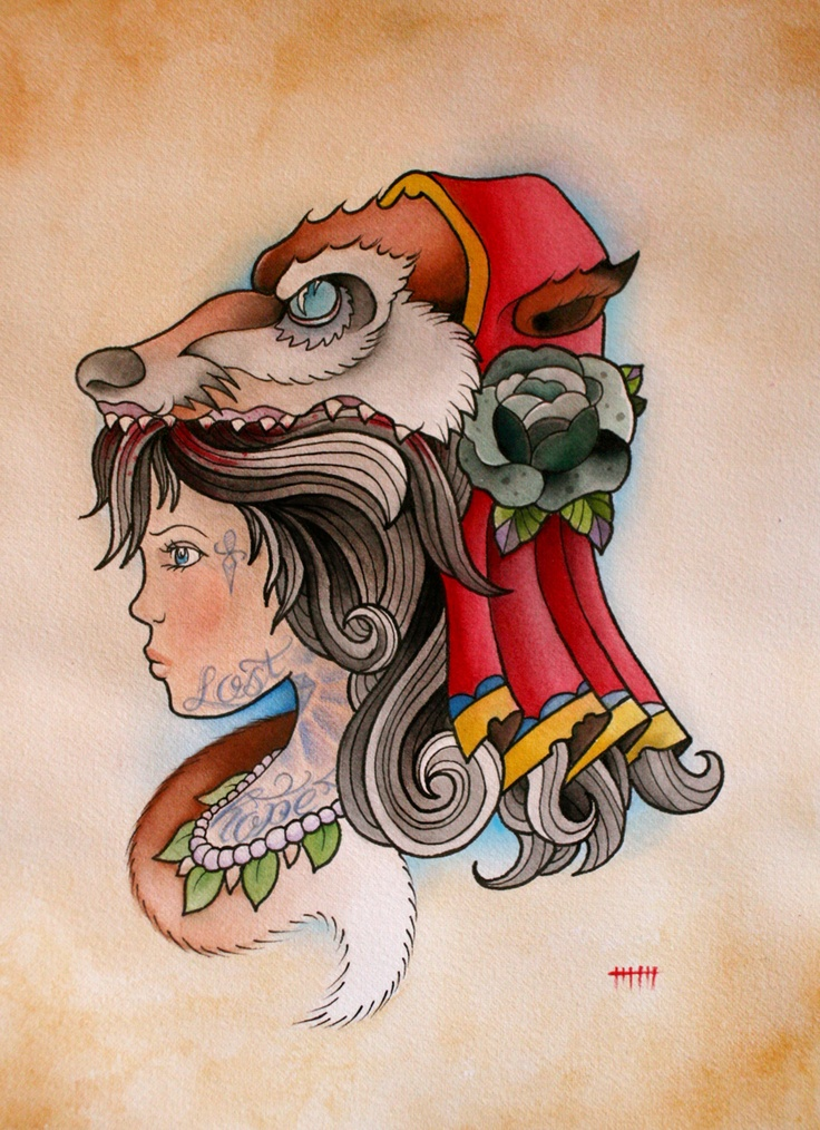 Red riding hood: Wolf Girls, Little Red, Tattoo'S Design, Hoods Paintings, Clothing Tattoo'S, Body Art, Flash Art, Red Riding Hoods, Future Tattoo'S