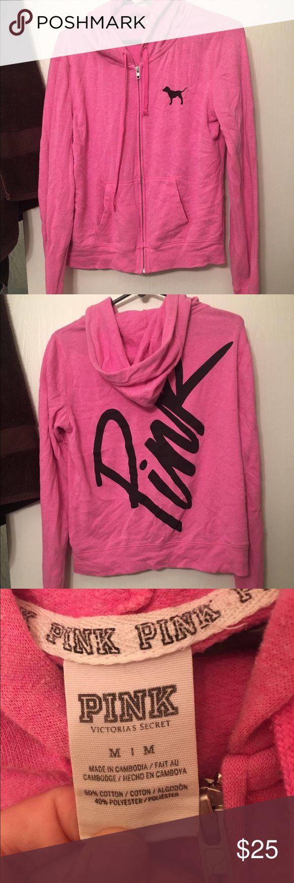 Victoria secret pink zip up hoodie Lightly worn Pink hoodie. No flaws, just too short for my torso. Cute and comfy! PINK Victoria's Secret Tops Sweatshirts & Hoodies