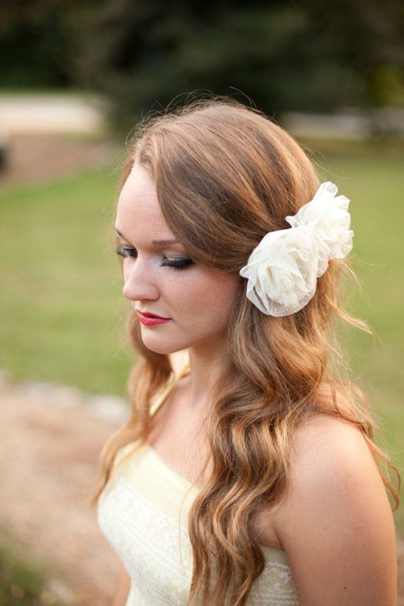 Bridal Hair Accessory: Ivory, Cream, Swiss Dot Lace Two Rose Flowers, French Vintage Style Comb, bridesmaid, vintage bridesmaid dress, farm wedding