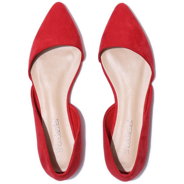 ShoeDazzle Flats Lisethe Womens Red ❤ liked on Polyvore featuring shoes, flats, red, red flats, d'orsay shoes, d orsay shoes, flat pump shoes and red shoes